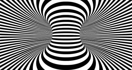 Optical illusion lines background. Abstract 3d black and white illusions. Conceptual design of optical illusion