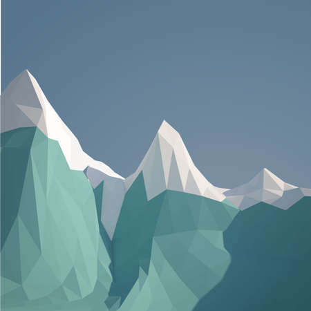 Low poly ice mountain. Vector design illustration. Futuristic polygonal background. Ocean background. Mountain illustration, outdoor adventure.