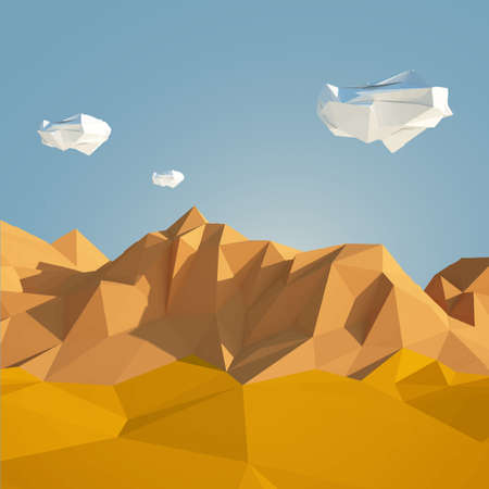 Low poly desert illustration in paper art style with low poly sky 写真素材 - 149725204