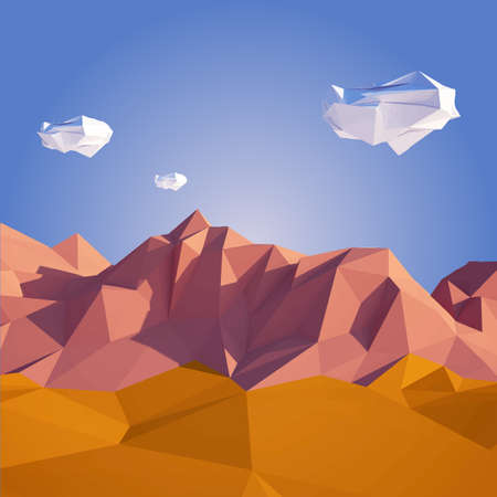 Low poly desert illustration in paper art style with low poly sky