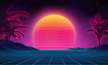 Retro background futuristic landscape with palm tree silhouette 1980s style. Digital retro palms landscape cyber surface. Retro music album cover template sun, space, mountains . 80s Retro Sci-Fi Background Summer Landscape.