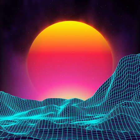 Retro background futuristic landscape 1980s style. Digital retro landscape cyber surface. Retro music album cover template sun, space, mountains . 80s Retro Sci-Fi Background Summer Landscape.