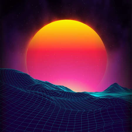 Retro background futuristic landscape 1980s style. Digital retro landscape cyber surface. Retro music album cover template sun, space, mountains . 80s Retro Sci-Fi Background Summer Landscape. Stock Vector - 149889910