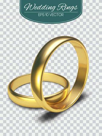 Golden rings isolated on white background Vector Illustration Illusztráció