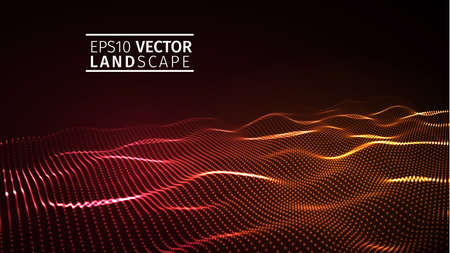 3D glowing abstract digital wave particles. Futuristic vector illustration. HUD element. Technology concept. Abstract background.Vector Abstract color red wave design element.