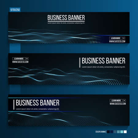 Abstract technology web banner. Background 3d grid. Ai tech wire network futuristic wireframe. Artificial intelligence . Ilustração