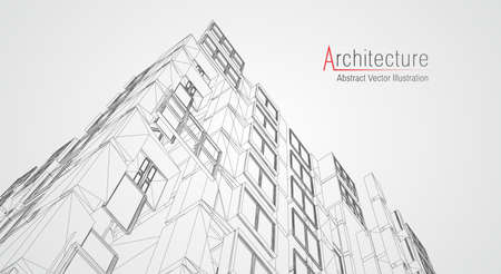 Architecture line background. Building construction sketch vector abstract. Modern city 3d project. Technology geometric grid. Wire blueprint house. Digital architect innovation wireframe. Ilustração Vetorial