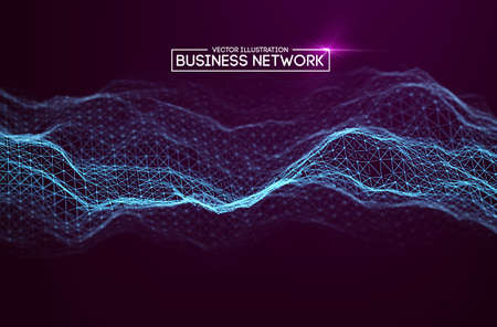 Business network technology. Internet growth and technology network. Abstact connection polygonal elements.