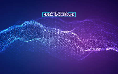 Blue background design. Colourful music background design. Abstract sound wave music equalizer.
