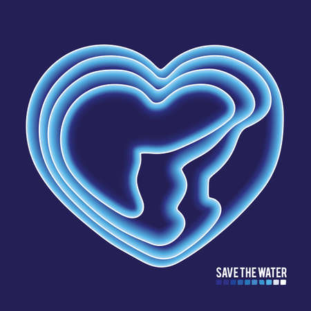 Save water concept. Blue water gradient in form of heart concept..