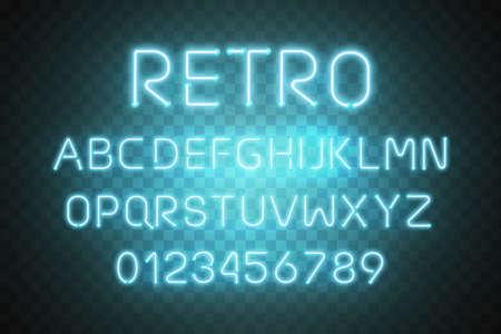 Blue retro neon font vector.