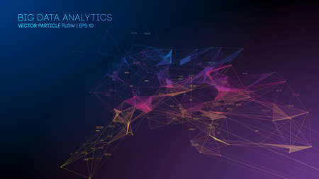 Big Data Analytics Blockchain technology background. Colorful triangle particles background.