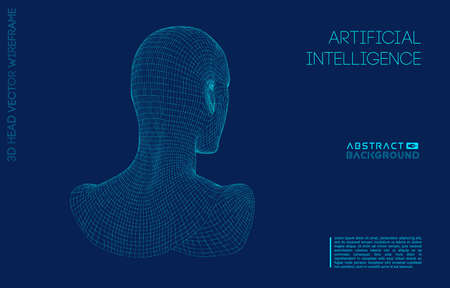 Artificial intelligence head, city human and innovations sciences fictions. Artificial technology human head concept. Cyborg background with artificial intelligence components, artificial intelligence background.