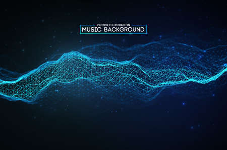 Blue background design. Colourful music background design. Abstract sound wave music equalizer 矢量图像