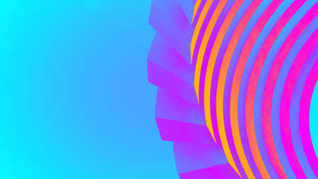 Ultraviolet render. Abstract vibrant geometric background. Banner or poster creative graphic wallpaper. Geometry glow neon electric lines. Cyber arch vibrant technology 3d render. 免版税图像