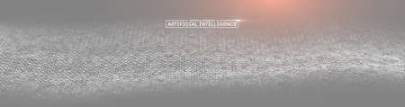Artificial intelligence vector wave light background digital wallpaper. Communication network. Business information abstract wallpaper. Background 3d grid. Ai tech wire network futuristic wireframe.