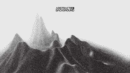 Vector landscape of mountain in dotwork style. Stipple illustration design. Old retro dot texture vintage gradient. Pointillism graphic. Grain terrain wallpaper.