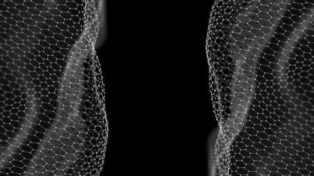 Abstract Blue Geometrical Background. Futuristic technology style. Neon Sign . Futuristic Technology HUD Element. Hexagonal honeycomb. Big data visualization . 免版税图像