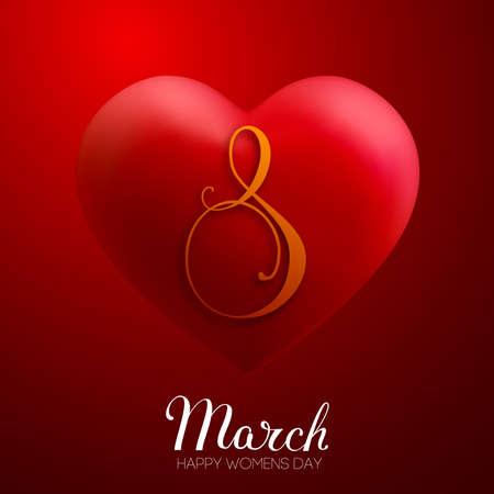 8 March women day vector heart. EPS 10 vector illustration. Red heart 3d vector for international women day. Vettoriali