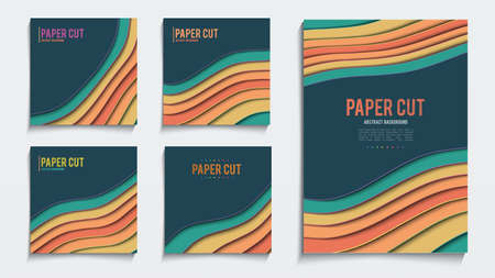 Abstract paper cut social media post. Paper cut poster cover vector design template. Stock Illustratie