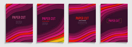 Paper cut cover vector illustration. Cartoon style template.