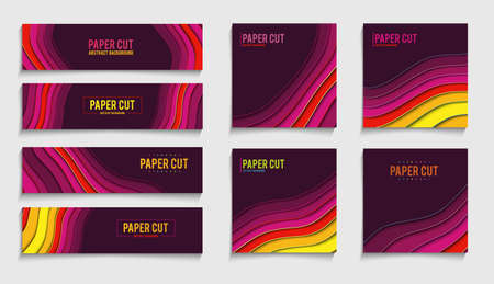 Paper cut banner creative vector concept. Vector geometric decoration 3d wallpaper.