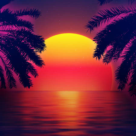 3d sunset on the beach. Retro palms vector sci fi background with ocean. Sun reflection in water. Futuristic landscape 1980s style. Digital landscape cyber surface. 80s party background.