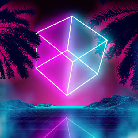 Neon 3d cube on retro background landscape. Glowing cube cosmos poster. Neon light box cube light. Future purple 80s sci-fi poster.