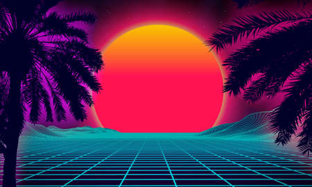 3d sunset on the beach. Retro palms vector sci fi background. Digital landscape cyber surface. 80s party background. Vettoriali