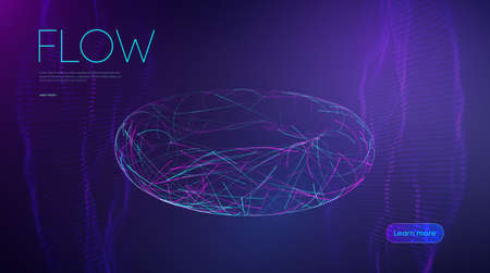 Ai artificial intelligence line flow. Music abstract background. Purple digital world fiber optic 3d design. Machine learning future innovation. Tecnology background vector. Stock Illustratie