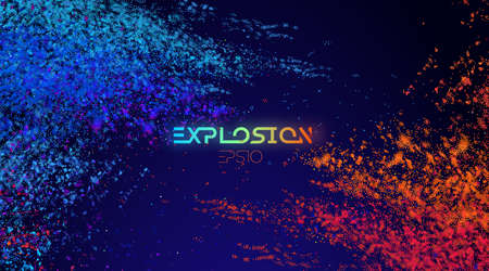 Colour powder, explosion light background blue and pink powder. EPS 10 Vettoriali
