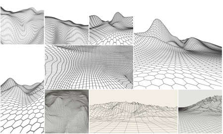 Wireframe landscape backgrounds set. Vector illustration. Terrain digital topography wireframe. Mountain data wireframe modelling map.