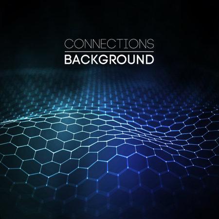 Network connection concept black background vector illustration. Futuristic hexagon perspective wide angle lansdcape. Futuristic honeycomb concept. 3d landscape. Big data digital background.
