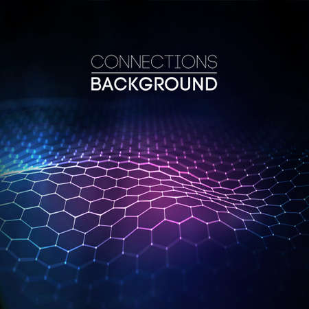 Network connection concept black background vector illustration. Futuristic hexagon perspective wide angle landscape. Futuristic honeycomb concept. 3d landscape. Big data digital background.