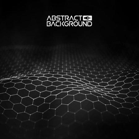 Network connection concept black background vector illustration. Futuristic hexagon perspective wide angle landscape. Futuristic honeycomb concept. 3d landscape. Big data digital background.