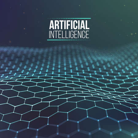 Hexagonal background blue. Ai Future technology background. Artificial intelligence. Big Data Business Concept.