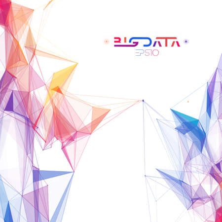Colorful data abstract infographic. Data sorting color flow. Big data abstract plexus vector background. Stock Illustratie