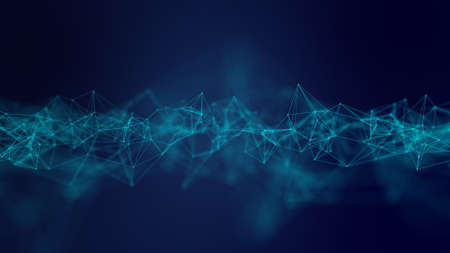 Abstract geometric blue connections background. Artificial intelligence tech medical concept. Network cyber technology background. Stockfoto