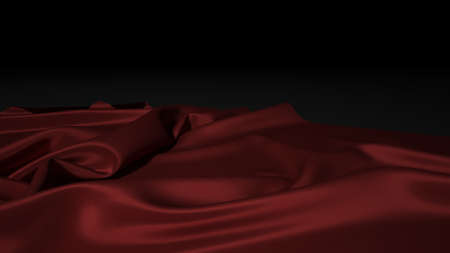 Abstract red silk on black christmas background. Black background with red canvas.
