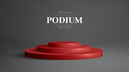 Red podium in black room. Realistic 3d round stage vector. Award winner platform studio.