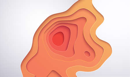 Yellow paper cut orange minimal geometric background. Vector 3d modern abstract art. Minimal yellow background.
