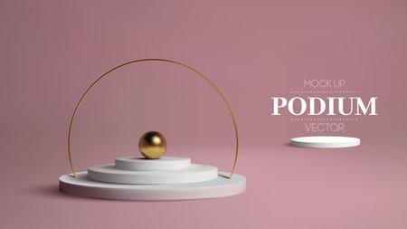 Podium with gold frame on pink background. 3d golden sphere vector. Award winner Platform studio 3d Vector stage.