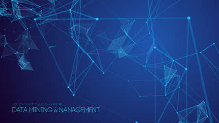Data mining and management. Big data abstract vector illustration. Technology background blue. Stockfoto