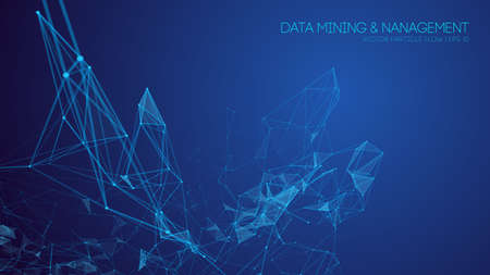 Data mining and management. Big data abstract vector illustration. Technology background blue. Stock Illustratie