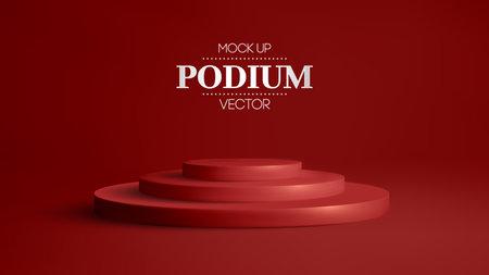 3D red podium on soft red background. 3D stage round podium vector. Award winner platform studio.
