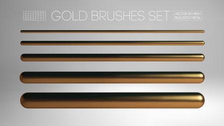 Gold brush mesh isolated on grey