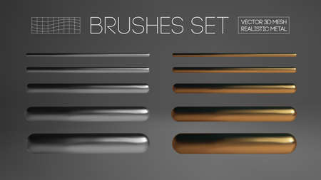 Gold and silver brush mesh isolated on grey