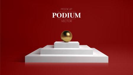 3D white podium on soft red