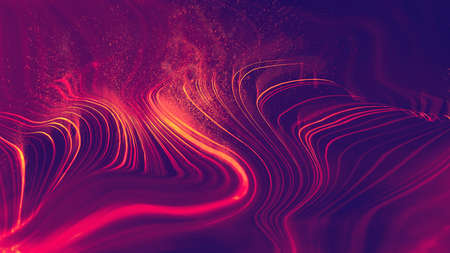 Abstract red technology background wave with explosion particles and smoke. Blockchain network illustration. Imagens