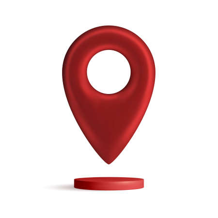 Red map pointer isolated on white background. Find address, location icon concept. GPS 3d Pointer. Vector 3d illustration. Stock Illustratie